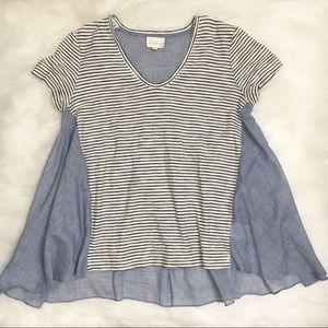 Deletta Short Sleeve Oversized Striped Tunic Top